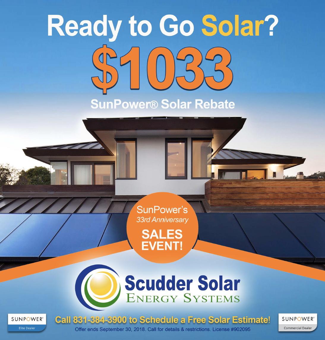 $1033 SunPower Rebate – Scudder Solar Energy Systems Blog